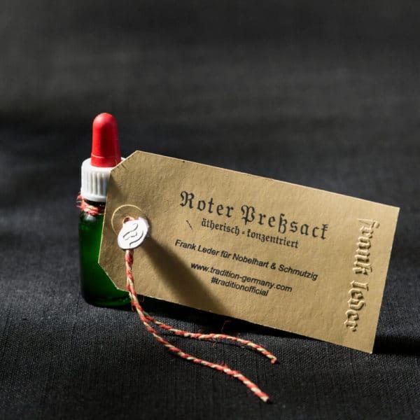 10 ml Flasche Duftöl Roter Presssack von Frank Leder