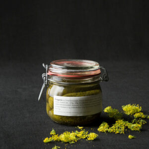 pickled gherkins in glass