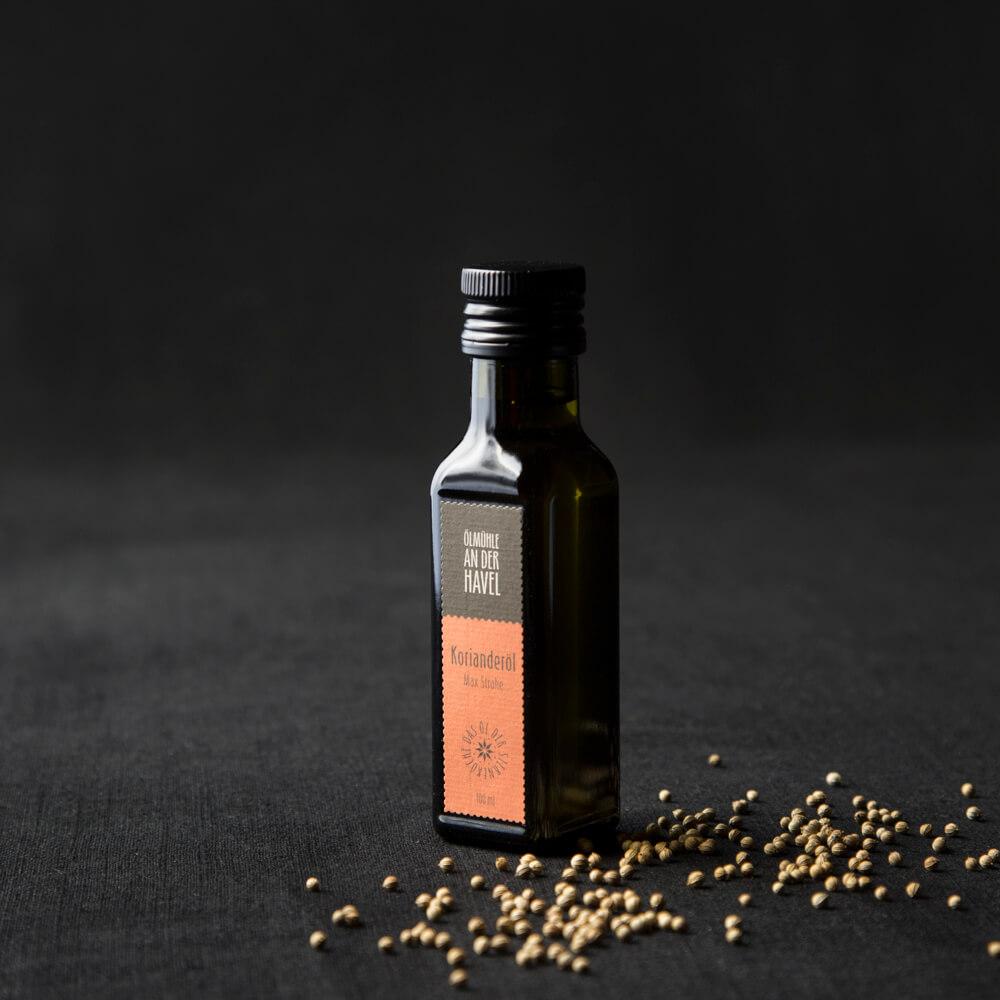 bottle of coriander seed oil