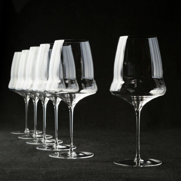 six red wine glasses